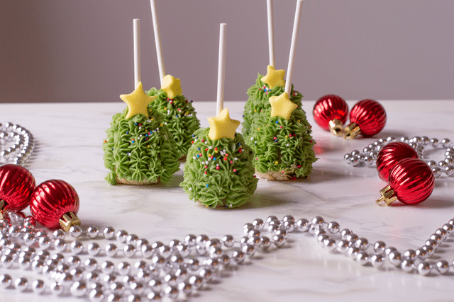 Christmas tree shaped cake pops, holiday ornaments