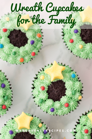 Chocolate cupcakes with green icing on white background
