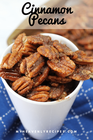 Looking for a tasty treat that can double as a gift this holiday season?  These Cinnamon Pecans will be a hit! #candiednuts #dessert #cinnamonpecans @heavenlyrecipe