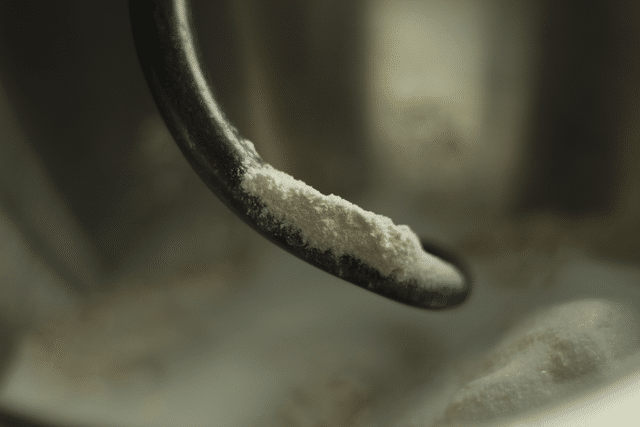 dry baking ingredients on mixing hook