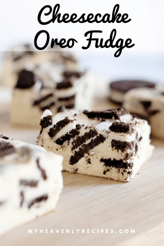 oreo cheese fudge with text