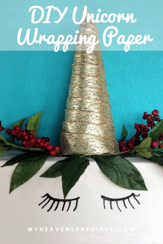Who says you can't have unicorn wrapping paper for Christmas? Unicorn popularity isn't going anywhere, my friends!  Surprise your unicorn loving friends with this fun unicorn gift wrap. #diy #unicorngiftwrap #christmas @heavenlyrecipe