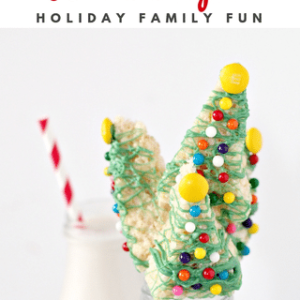 christmas tree shaped rice krispie treats with text