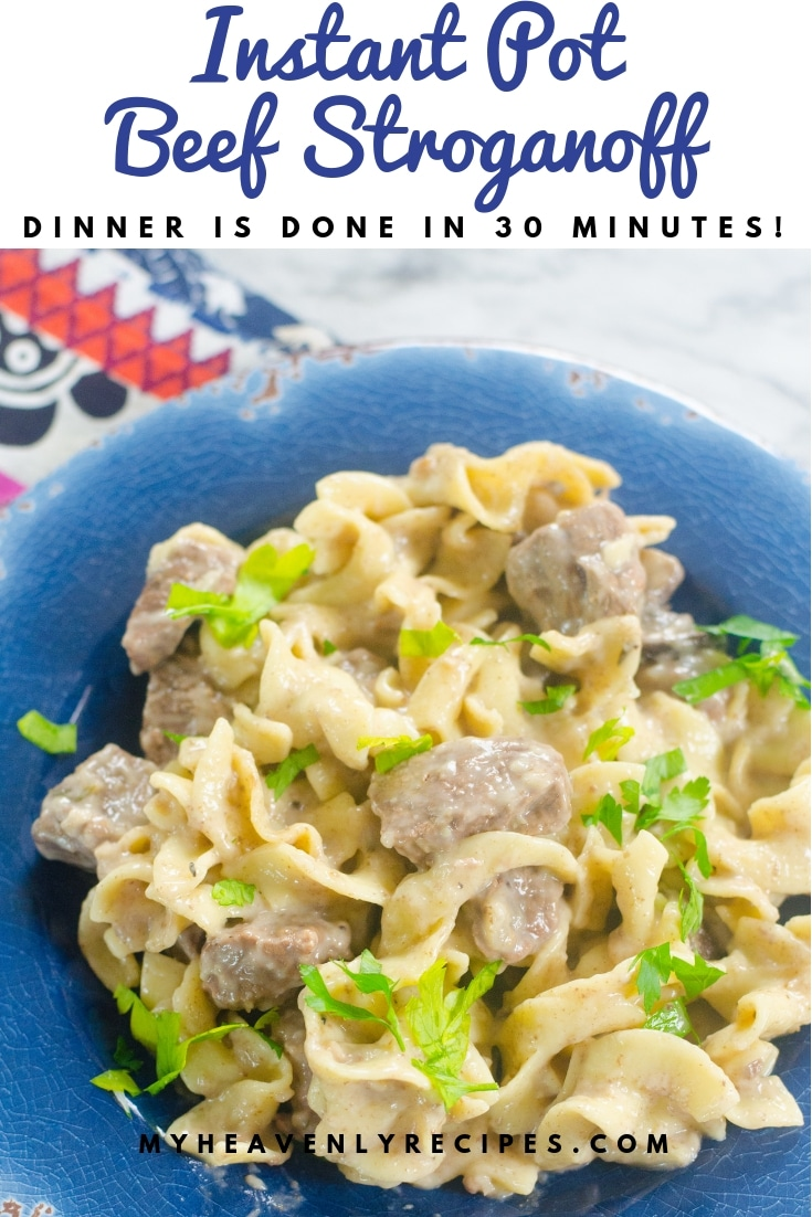 Instant Pot Beef Stroganoff - This Instant Pot Beef Stroganoffis one of the comfort meals that everyone loves and now that we have the magical Instant Pot, it takes so much less time than the classic way of cooking it. Less than 30 minutes of cooking time and you can have dinner on the table in no time flat! #MyHeavenlyRecipes #BeefRecipes #InstantPotRecipes #EasyRecipes