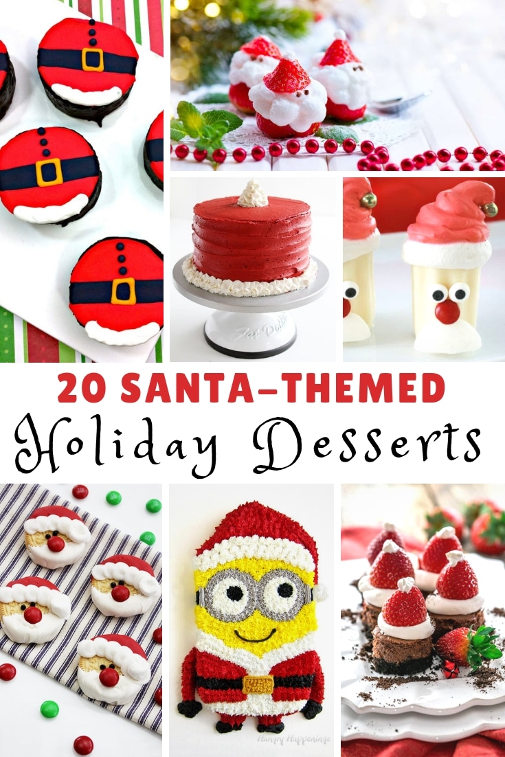 A super sweet collection of 20 Santa-Themed Holiday Dessert perfect for Christmas! Ho Ho Ho!!! #MyHeavenlyRecipes #Christmas #Santa #SantaClause #Desserts #HolidayTreats
