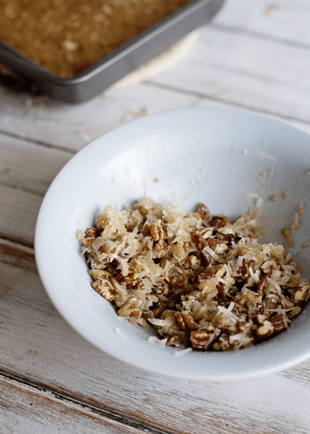 pecans, coconut, brown sugar in white bowl