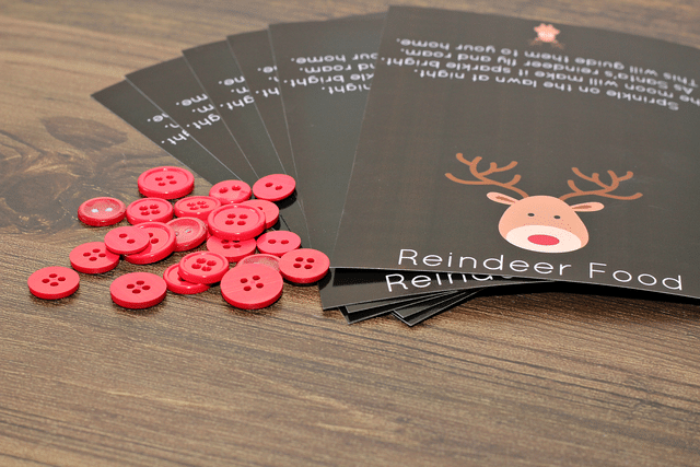 reindeer food labels, red buttons
