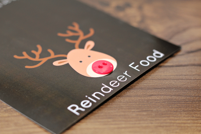 reindeer food label with red button