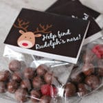 whoppers,red dot candy, reindeer printable label in treat bag