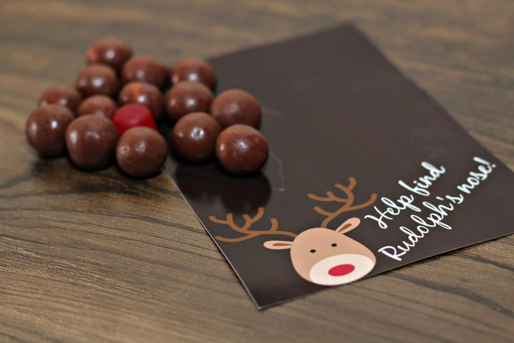 whoppers, red dot candy, printable reindeer label