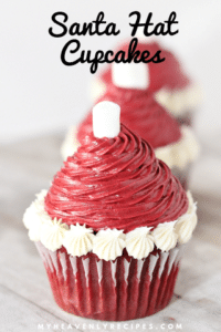 red velvet cupcakes with white and red icing and text
