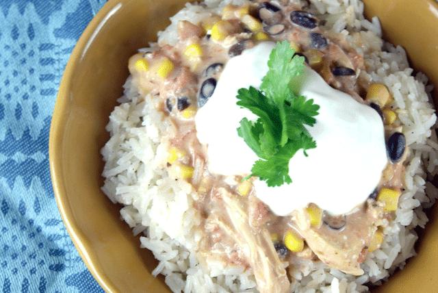 mexican chicken, cilantro, sour cream over rice