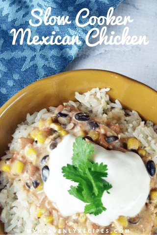 mexican chicken, cilantro, sour cream over rice with text