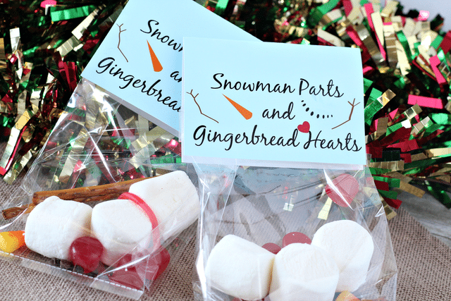 marshmallows, pretzel sticks, candy corn, red dots, snowman parts label