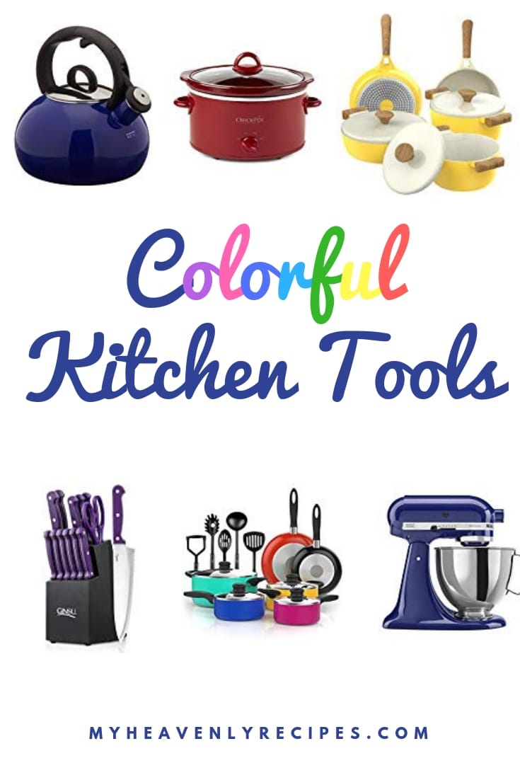 Have a boring kitchen and want to add a pop of color without drastic change? How about needing a gift for that person who literally has everything? Whatever the reason these Colorful Kitchen Tools are sure to brighten anyone's day! #gift #kitchen #remodel #myheavenlyrecipes