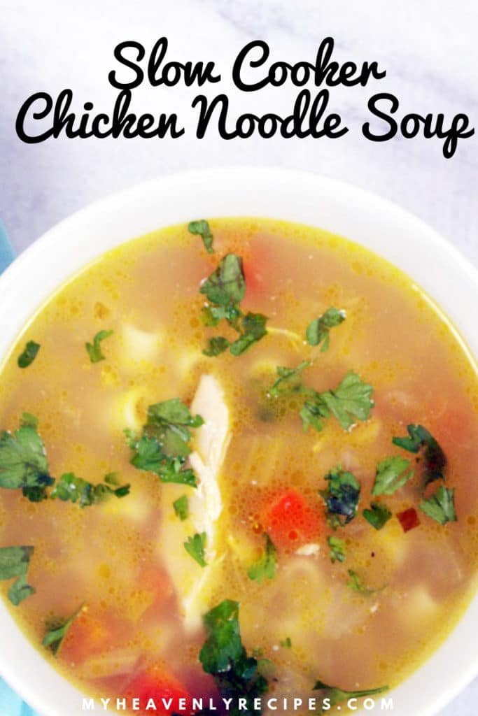 slow cooker chicken noodle soup featured image in bowl