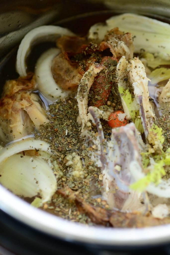 Instant Pot chicken broth ready to be cooked