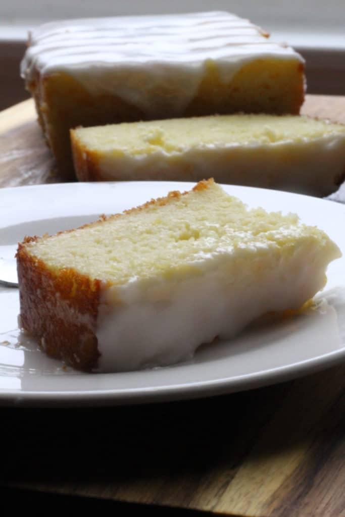 starbucks lemon loaf bread slice on plate