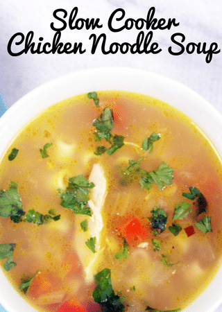 slow cooker chicken noodle soup with text