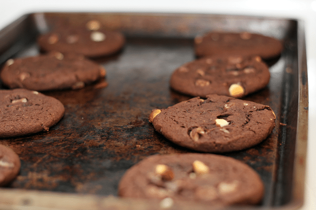 chocolate cookies on baking sheet