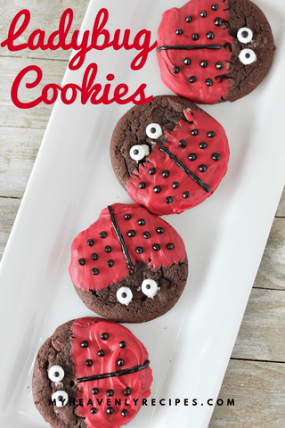 Ladybug Cookies - If you are looking for a fun cookie to make with the kids or for a kid's party, these Ladybug Cookies are perfect!  They are cute, delicious and they will make everyone smile. The kids will absolutely love the cute little ladybug faces on these cookies. #MyHeavenlyRecipes #LadyBugs #Cookies #CookieRecipes #KidsBirthdayParties #KidFriendlyRecipes
