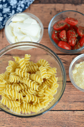 pasta, tomatos, cheese in bowls