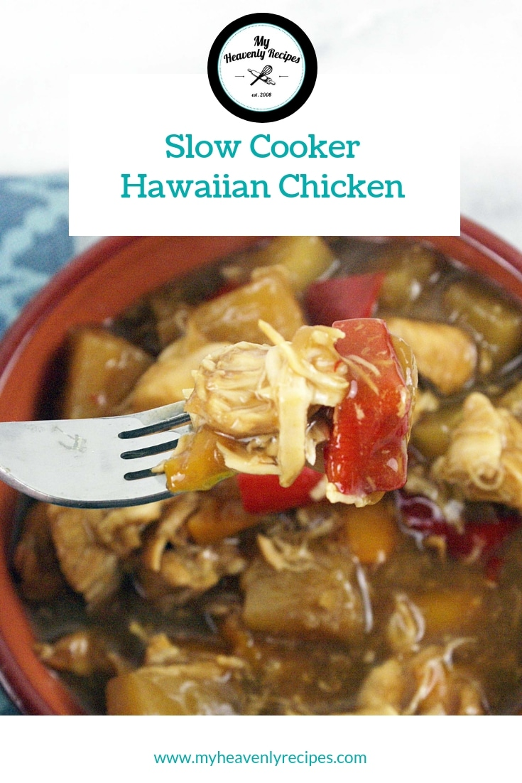 Slow Cooker Hawaiian Chicken - Do you love pineapple chicken? You will love this recipe for Slow Cooker Hawaiian Chicken. It is easy to make and makes a delicious easy weeknight dinner. #MyHeavenlyRecipes #SlowCooker #CrockPot #ChickenRecipes #EasyRecipes #Dinner