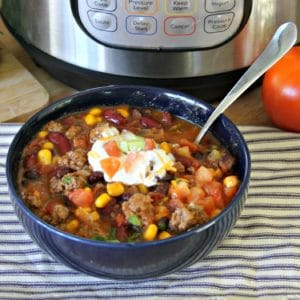 up close shot of instant pot taco soup recipe