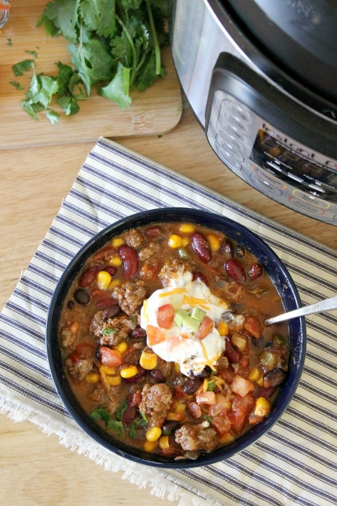 overhead shot instant pot taco soup recipe
