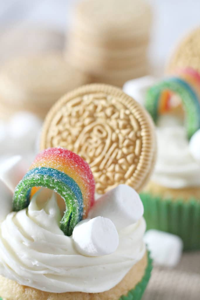 St. Patrick's Day cupcakes upclose on the rainbow