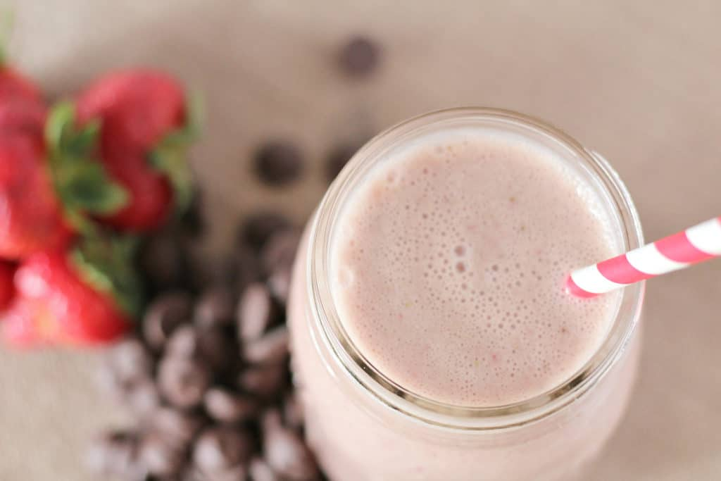 Strawberry smoothie with chocolate