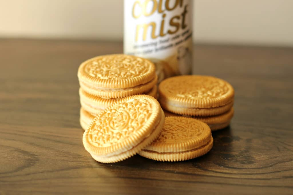Paint the Oreos with gold paint