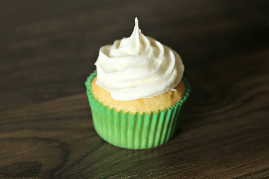 Ice the St. Patrick's Day cupcakes