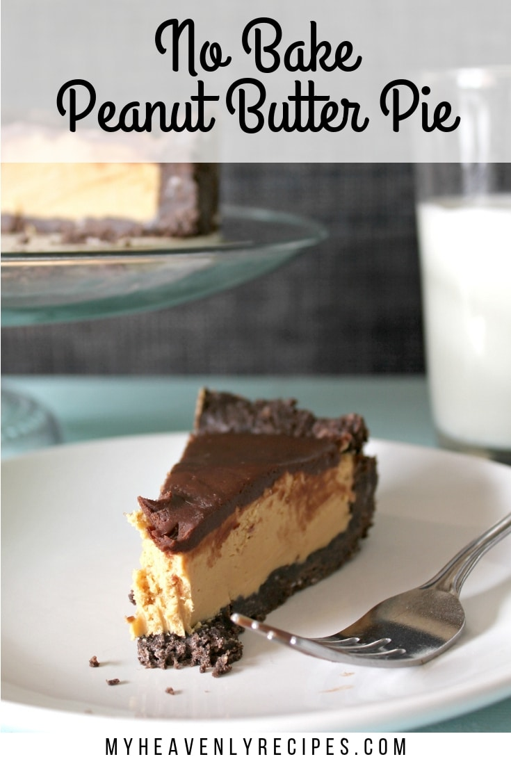 No Bake Peanut Butter Pie with Chocolate Ganache - This dessert is rich and over the top! You'll want to have a glass of milk within reach. #MyHeavenlyRecipes #NoBakeDesserts #PeanutButter #Pie