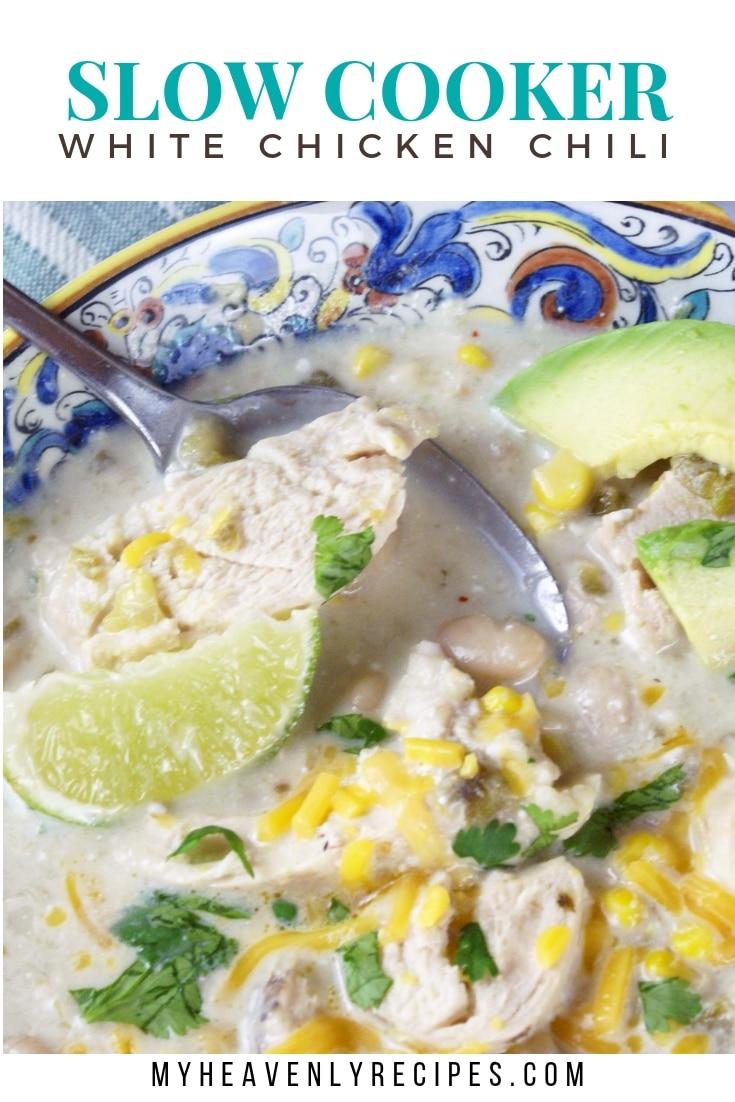 Slow Cooker White Chicken Chili - Are you looking for a slow cooker white chicken chili recipe? You will love the bursting flavors of this white chili comfort food recipe. #MyHeavenlyRecipes #ChickenRecipes #Chili