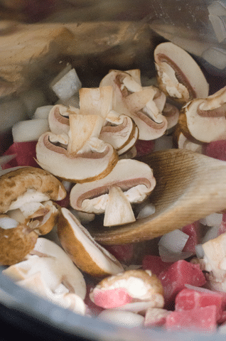 mushrooms, onions, cubed beef in an instant pot