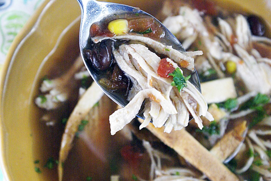 close up spoonful of chicken tortilla soup