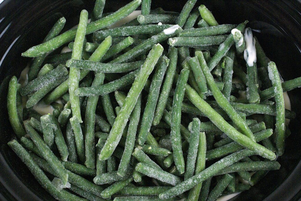 frozen green beans in the slow cooker