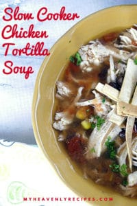 bowl of chicken tortilla soup made in the slow cooker