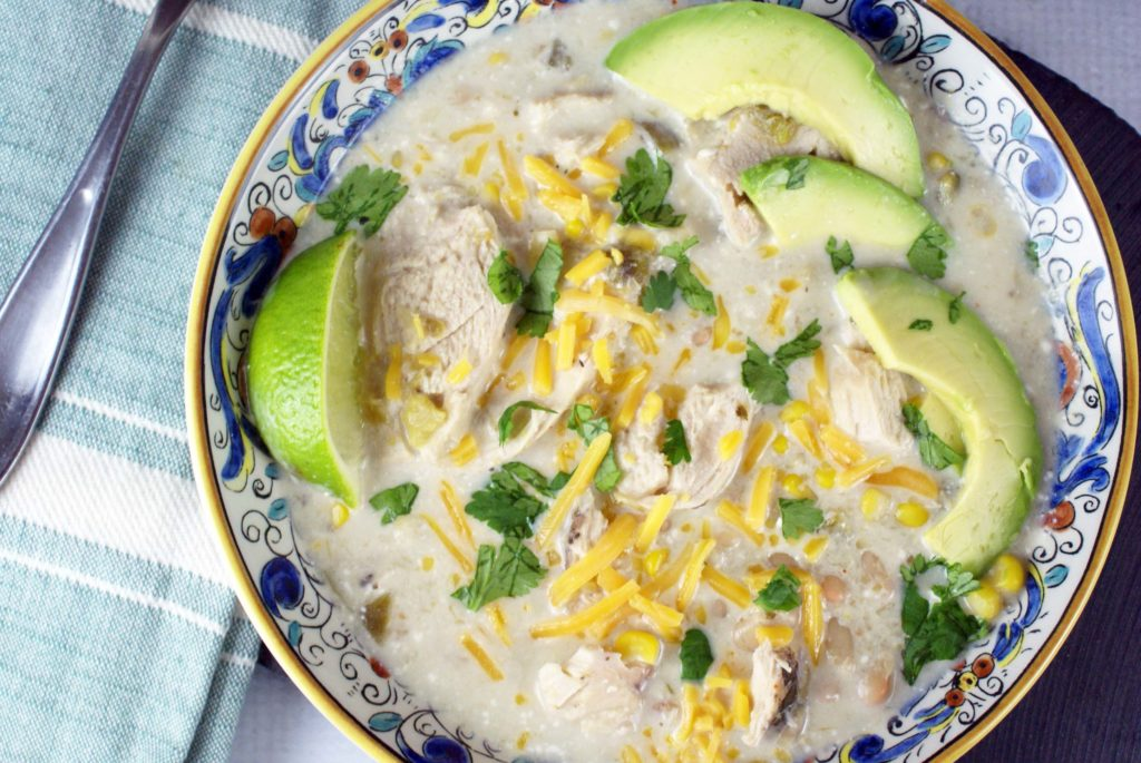 Bowl of slow cooker white chicken chili