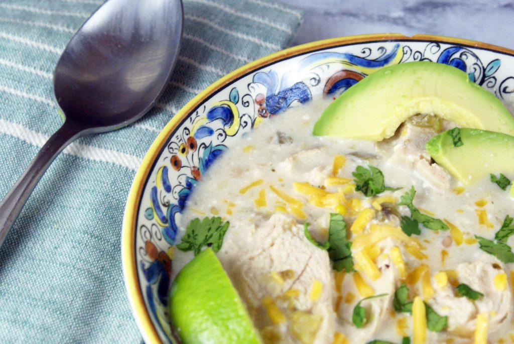 close up of slow cooker white chicken chili
