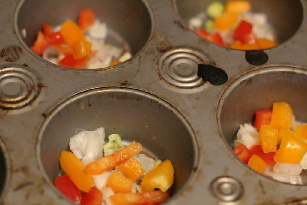 peppers in a muffin tin