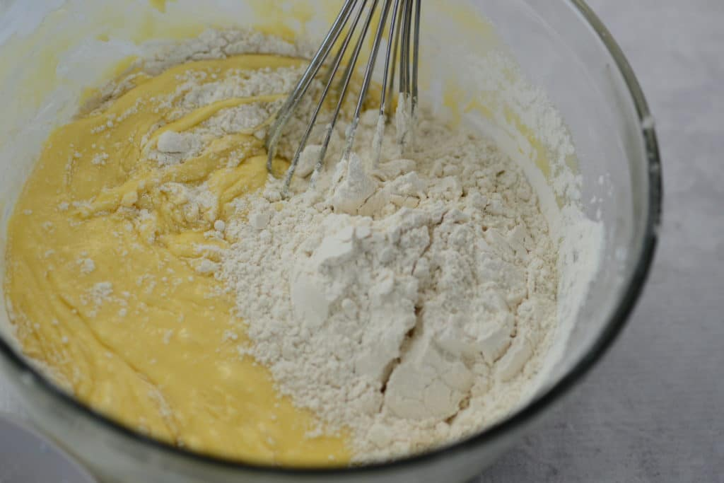 add flour to sugar and butter for blueberry pound cake