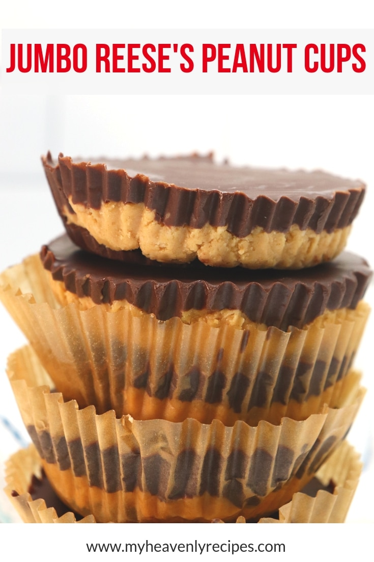 Homemade Jumbo Reese's Peanut Butter Cups - Do you Love Reese's Peanut Butter Cups? If you are a chocolate and peanut butter lover, you are going to love these Jumbo Reese's Peanut Butter Cups. All the delicious taste of peanut butter cups, made at home and twice the size. #MyHeavenlyRecipes #CopyCatRecipes #DessertRecipes #EasyRecipes #NoBakeDesserts #Chocolate