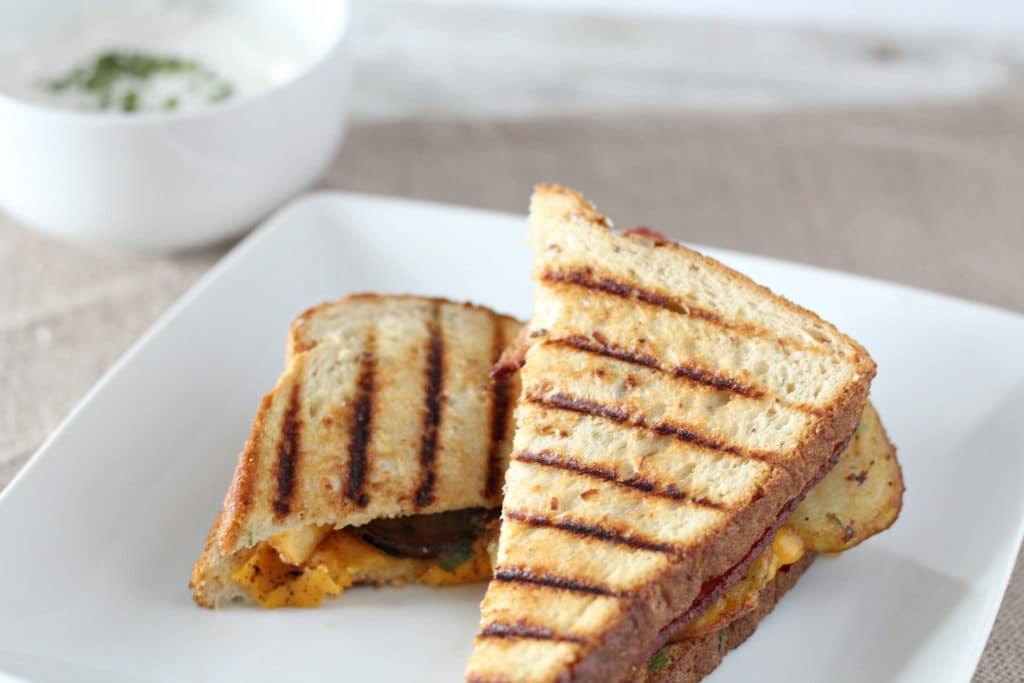 loaded potato grilled cheese with bacon