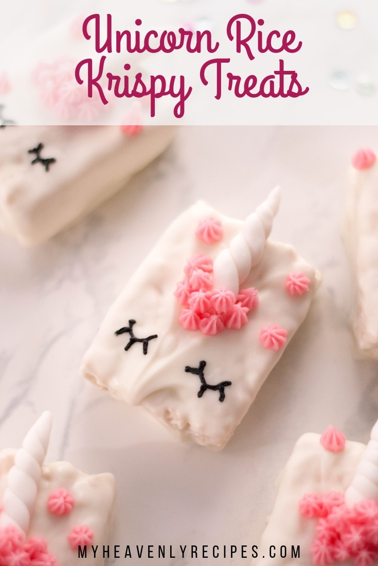 Unicorn Rice Krispy Treats - Looking for fun unicorn treats? These unicorn treats are so simple to make and can be used for any special occasion. Make unicorn treats for a party, for a classroom treat, or for any reason. #MyHeavenlyRecipes #Unicorn #RiceKrispyTreats #BirthdayParty #UnicornParty
