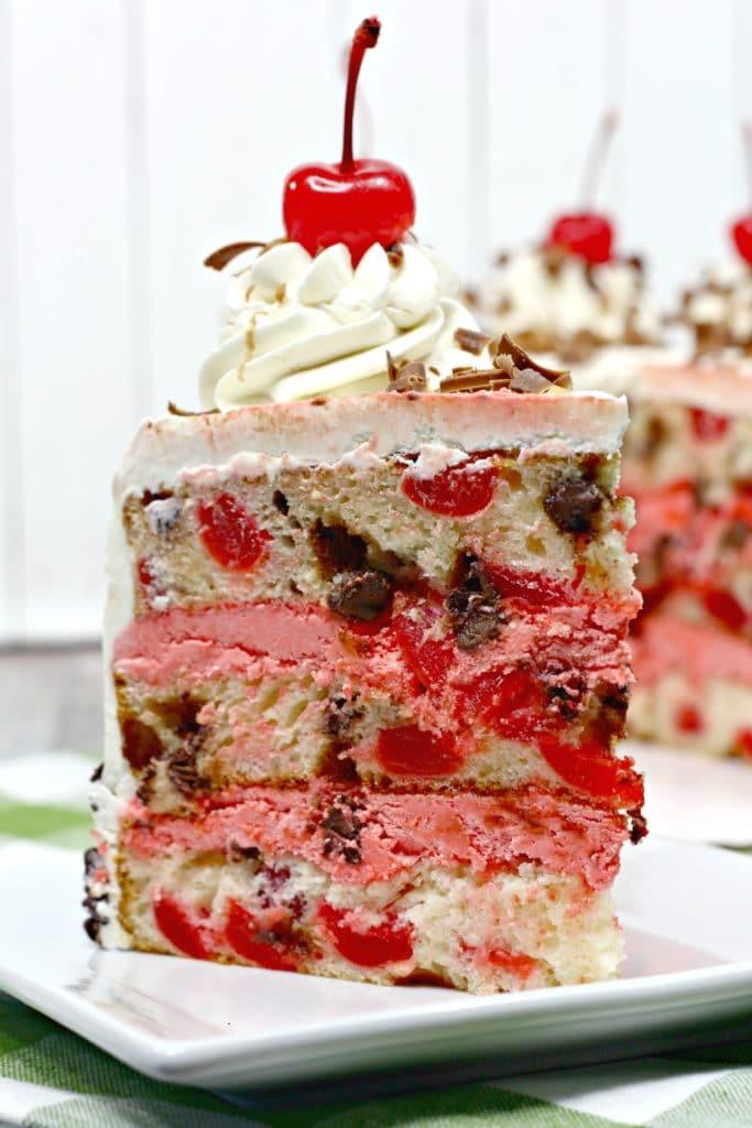 slice of Cherry Garcia cake