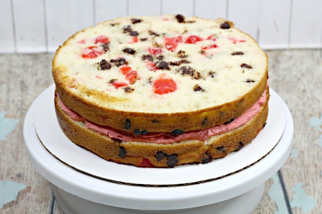 2 layers of chocolate cherry cake