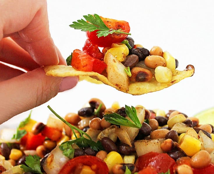 cowboy caviar on a chip