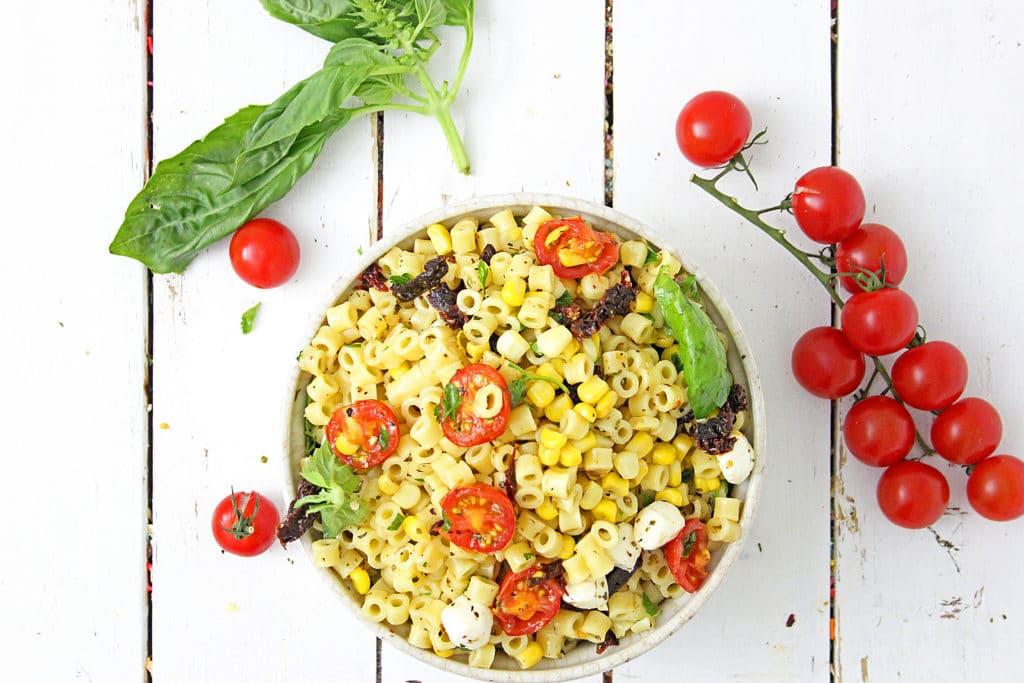Roasted Tomato Pasta Recipe with Fresh Mozzarella in a bowl